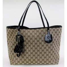 Gucci Monogram with Black Patent Leather Trim 'Jolie' Large Tote
