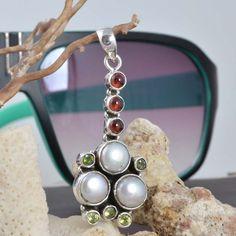 """Pearl & Garnet 925 STERLING SILVER DESIGNER LADIS PENDANT 7.51g DJP7540 L-1.85"""" #Handmade #Pendant"""