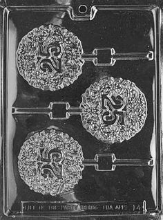 Cybrtrayd 25th Lolly Letters and Numbers Chocolate Candy Mold with Lollipop Supply Bundle of 25 Gold and 25 Silver Twist Ties