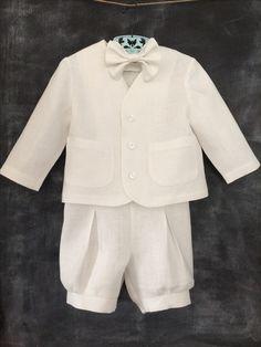 Baby/Toddler White Linen Baptism Outfit - babysuzannajohanna/etsy