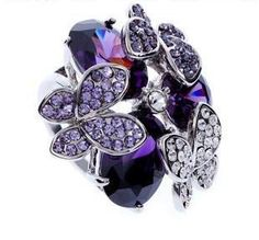New Design High Quality Vintage Inlay Butterfly Crystal Ring