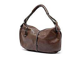 ANDREA MABIANI 4 Suarez Chocolate Brown 100% Leather Handbag w Whip  Stitching f560b2316b33b