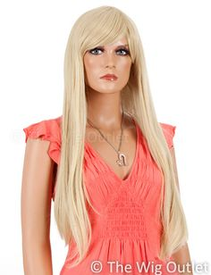 DELUXE Savannah (Blonde 24T613) Costume Wig - Allaura Brand. Savannah is a beautiful long straight wig and a long side swept fringe that can be styled many ways.   Type: Synthetic Wig  Colour: 24T613 Blonde (as pictured)  Fibre: Heat Resistant High Quality Synthetic www.thewigoutlet.com.au