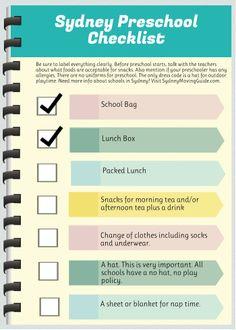 Sydney Preschool Checklist