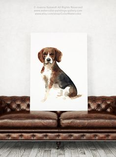 Beagle Dog Art Print, Pets Illustration Giclee Fine Art, Beagles Wall Art, Brown Home Decor, Hound Dog Watercolor Painting Gift Idea