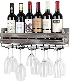 Amazon.com : wall mounted wine rack and glass holder Wine Rack Storage, Wine Rack Wall, Glass Holders, Glass Rack, Bottle Holders, Bordeaux, Wine Bottle Rack, Rustic Wood, Dining Room Furniture