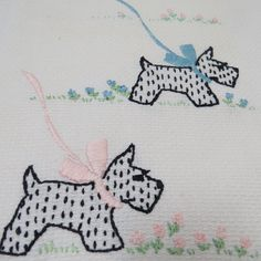 RESERVED for JODIE -Vintage Embroidered SCOTTIE Dogs  Hand Towel on White Pique Scottish Terriers Tea Towel Hand Towel Dish Towel