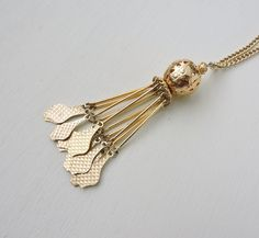 Vintage Tassel Necklace, Gold Geometric Necklace, Great Gatsby Flapper, Sautoir Necklace, Long Layering Necklace, Costume Estate Jewelry by ninthstreetvintage on Etsy