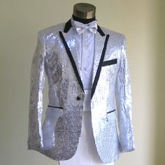 Hot Silver Sequin Slim Fit Fancy Wedding Prom Tuxedo Suits Men Costume SKU-123129
