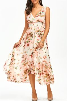 $22.55 Empire Waist Butterfly Print Ruffle Dress - Pink
