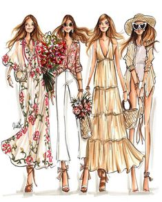 Globetrotting and island hopping with Sincerely Jules illustration by Jen Lublin Design Fashion Design Sketchbook, Fashion Design Drawings, Fashion Sketches, Drawing Fashion, Portfolio Mode, Fashion Portfolio, Runway Fashion, Fashion Art, Fashion Show