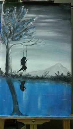 Night swing first oil painting on 2015