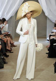White Wedding Pant Suits - Bridal Pant Suit by Carolina Herrera