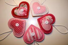 Valentine Felt Heart Ornaments/ Decorations via Etsy