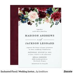 Enchanted Floral   Wedding Invitation Monogram Wedding Invitations, Burgundy Wedding Invitations, Sunflower Wedding Invitations, Engagement Party Invitations, Watercolor Wedding Invitations, Elegant Wedding Invitations, Wedding Invitation Cards, Zazzle Invitations, Invites