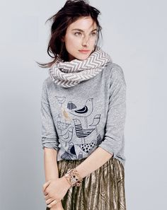 Grey Graphic Print Long Sleeve Tee, Shiny Gold Skirt, Chevron Print Infinity Scarf // birds