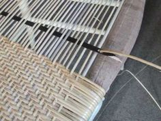 """A slideshow showing how to use a metal """"steamer"""" shuttle tool to speed up the weaving process on a porch or close woven chair seat. Steamers are available fr. Furniture Repair, Furniture Makeover, Diy Furniture, Rattan, Childrens Rocking Chairs, Woven Chair, Homemade Furniture, Oversized Chair And Ottoman, Weaving Process"""