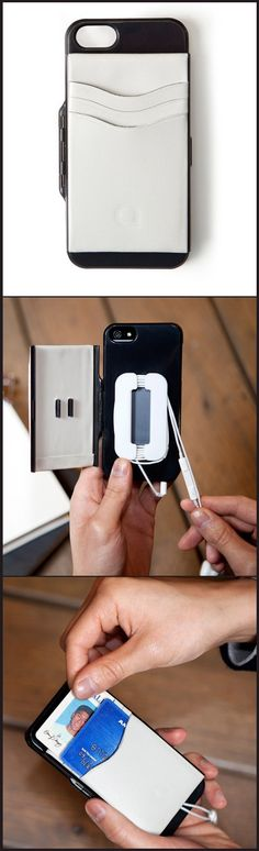 Iphone5 Case - wallet that snaps open to reveal a cable organizer for headphones and place to store your credit cards