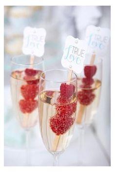Raspberries and champagne
