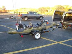Repurposed jet-ski trailer for kayak/canoe. Also, use the trailer for bikes. Kayak Fishing Tips, Fishing Cart, Kayak Camping, Fishing Videos, Camping Glamping, Gone Fishing, Fishing Boats, Fishing Stuff, Kayaking Gear