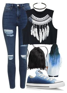 """Niki deMartino"" by kyalumomo on Polyvore featuring H&M, Topshop, WithChic and Converse"