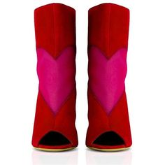 Konstantina Tzovolou Deeva Mesh Heart Red Fuschia Bootie (€245) ❤ liked on Polyvore featuring shoes, boots, ankle booties, cuffed ankle boots, open-toe boots, block-heel ankle boots, red boots and open toe boots