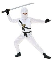 Ninja Avenger White Child's Costume - Your child will be stealthy and deadly this Halloween with this Ninja Avengers Costume. This four-piece costume includes a hood, shirt, tabard and pants. The traditional Ninja hood is slightly stretchy, and is worn like a balaclava and ties up in the back. The shirt is also slightly stretchy and ties up in the back of the neckline with fabric. #avengers #ninja #kids #children #costume #calgary #yyc