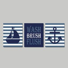 Kids Nautical Bathroom Decor Wash Brush Flush Wall Art Navy Sailboat Anchor Bathroom Rules Set Of 3 Prints Or Canvas Girl Boy Bath Art