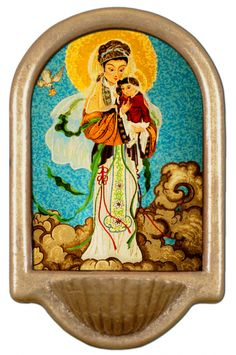 Our Lady of China Holy Water Font Click picture to see on #catholictothemax