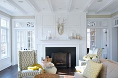 Leo Designs Chicago - living rooms - French doors either side of fireplace, fireplace french doors, transom