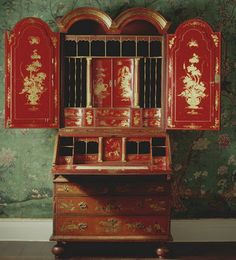 "Emperor's Silk~ ""Because I saw this amazing piece of furniture at Uppark House in West Sussex in the south of England...It was the usual rather flat reddish brown I'd seen on other chinoiserie pieces on the outside  but on the inside it was a vibrant rich red...This bright clear rich red is the colour of China. I now love to use it as often as I can; on chest of drawers, inside drawers, in dressers or on the inside of a bureau."""
