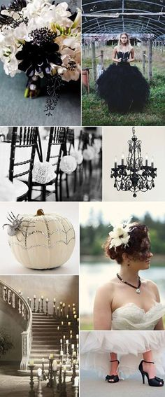 A Halloween wedding sounds pretty cool! All Hallow's Eve - Black and White Wedding Inspiration, beautiful! have a Halloween wedding at the Texas Renaissance Festival! October Wedding, Fall Wedding, Dream Wedding, Geek Wedding, Wedding Stuff, Black Wedding Themes, Wedding Colors, Black Weddings, Wedding Black