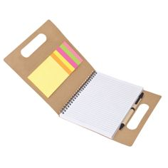 Recycled Paper Notebook with Pen Sticky Flags and Memo Notes