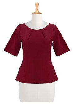 I <3 this Pleat neck cotton tee from eShakti