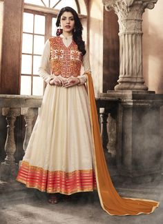 Off White Silk Jacket Style Anarkali Suit - Anarkalis Online Shopping Floor Length Anarkali, Long Anarkali, Anarkali Suits, White Anarkali, Anarkali Churidar, Churidar Suits, Punjabi Fashion, Abaya Fashion, Indian Fashion