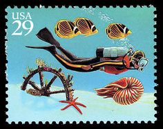 "Part of the ""Wonders of the Sea"" Issue, this stamp celebrates scuba diving."