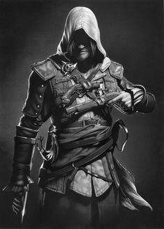 Assassin's Creed Charcoal & Graphite Portrait - Created by Mark Stewart