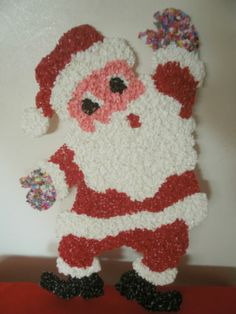 "Vintage 20"" Melted Popcorn Plastic Santa Hanging Figurine Deco | eBay Glue Gun Crafts, Popcorn, Dinosaur Stuffed Animal, Santa, Plastic, Deco, Toys, Christmas, Fun"