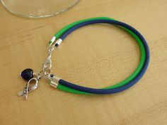 Blue and Green Awareness Bracelet - Intracranial Hypertension IH / Pseudotumor Cerebri PTC. $5.50, via Etsy.