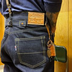 Ciano Farmer raw Texas selvage denim buckle back jeans. 997 Miner fit, sewn with yellow thread. Made in Texas. First wear, they're a bit stiff. Raw Jeans, Denim Shirt With Jeans, Raw Denim, Jeans And Boots, Men's Denim, Denim Style, Nudie Jeans, Levis, Doble Denim