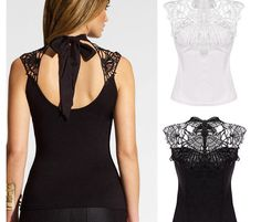 Beautiful lace turtleneck backless top for the modern fashionista Stylish design sure to turn heads Perfect for parties or social events Made from high quality material Available in 2 colors Stylish Tops For Women, Womens Trendy Tops, Stylish Outfits, Fashion Outfits, Fashion 2017, Backless Top, Lace Outfit, Crop Top Shirts, Women's Summer Fashion