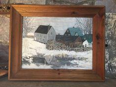 Vintage New England Folk Art Oil Painting - Maine Landscape w/ Lobster Traps