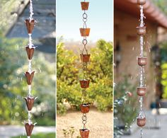 watercourse rain chains - hung from roof corners, the gathered rain swirls and flows down the links in a tranquil cascade Rain Garden, Water Garden, Farm Gardens, Outdoor Gardens, Castle Gardens, Outdoor Living, Outdoor Decor, Outdoor Stuff, Rain Chains