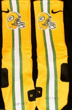 GreenBay Packers Inspired Custom Nike Elite Socks  Each pair is custom created when you order. There are minor flaws in each creation -- no two socks are the same.  These are authentic Nike Elite socks for sale. The design on the sock was not created by Nike, but was created and customized by...