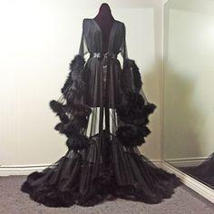 """Image of """"Cassandra"""" Sheer Black Marabou Dressing Gown (pre-order!)"""
