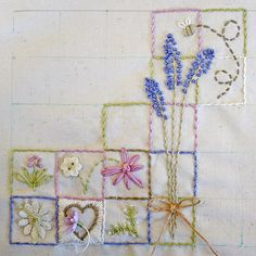 stitchery - great way to practice different stitches without the sampler look by patsy Hand Work Embroidery, Embroidery Sampler, Types Of Embroidery, Silk Ribbon Embroidery, Embroidery Applique, Cross Stitch Embroidery, Embroidery Patterns, Stitch Patterns, Fabric Art