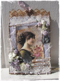 Paperbag card by LLC DT Member Elin Torbergsen, using papers from Maja Design's Vintage Spring Basics collection. Shabby Chic Cards, Fabric Journals, Scrapbooking, Handmade Tags, Beautiful Handmade Cards, Love Craft, Artist Trading Cards, Vintage Tags, Card Tags