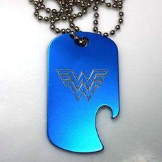 "Wonder Woman Blue Pendant With 30"" Chain Dog Tag Aluminum Bottle Opener EDG-0128"