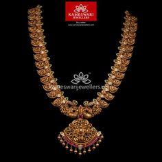 Mango Mala Jewellery, Gold Temple Jewellery, Indian Jewelry Earrings, Bridal Jewelry, Diamond Jewelry, Gold Jewelry, Gold Necklace, Indian Wedding Jewelry, India Jewelry