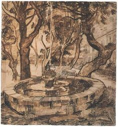 Van Gogh, Fountain in the Garden of the Hospital, St Remy, Drawing, Black chalk, reed pen and ink  Saint-Rémy: May, 1889  Van Gogh Museum  Amsterdam, The Netherlands, Europe  F:1531,JH:1705